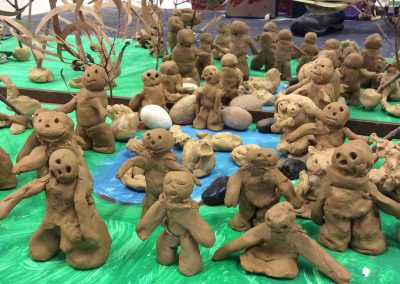 Photo of clay sculptures made by the preschool children